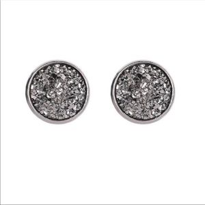 Silver Druzy Stud Earrings!